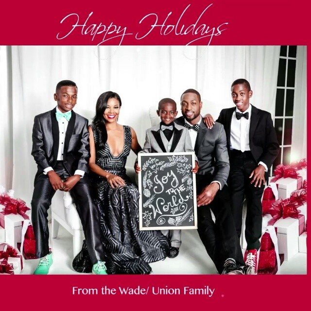 Celeb couple news gabrielle union amp dwayne wade holiday photo