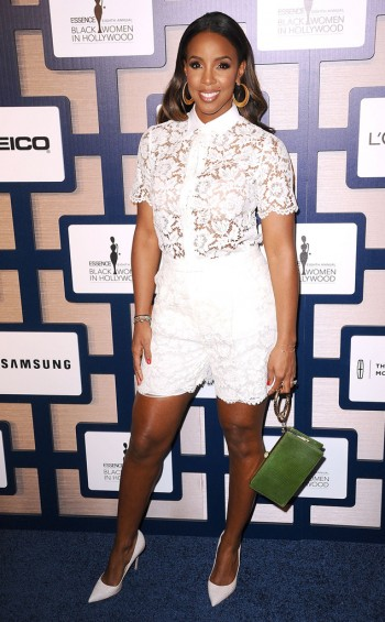 Newlywed and new mom Kelly Rowland stuns in a white lace short ensemble at the ESSENCE Black Women in Hollywood Luncheon.