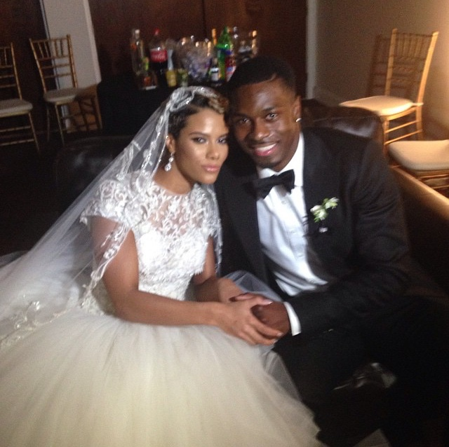 Mr. & Mrs. AJ Green taking in all the bliss!