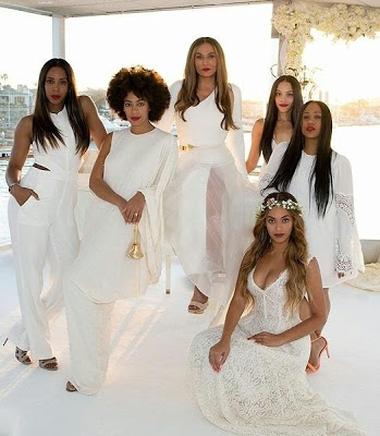 Tina Knowles poses at her wedding with her favorite ladies