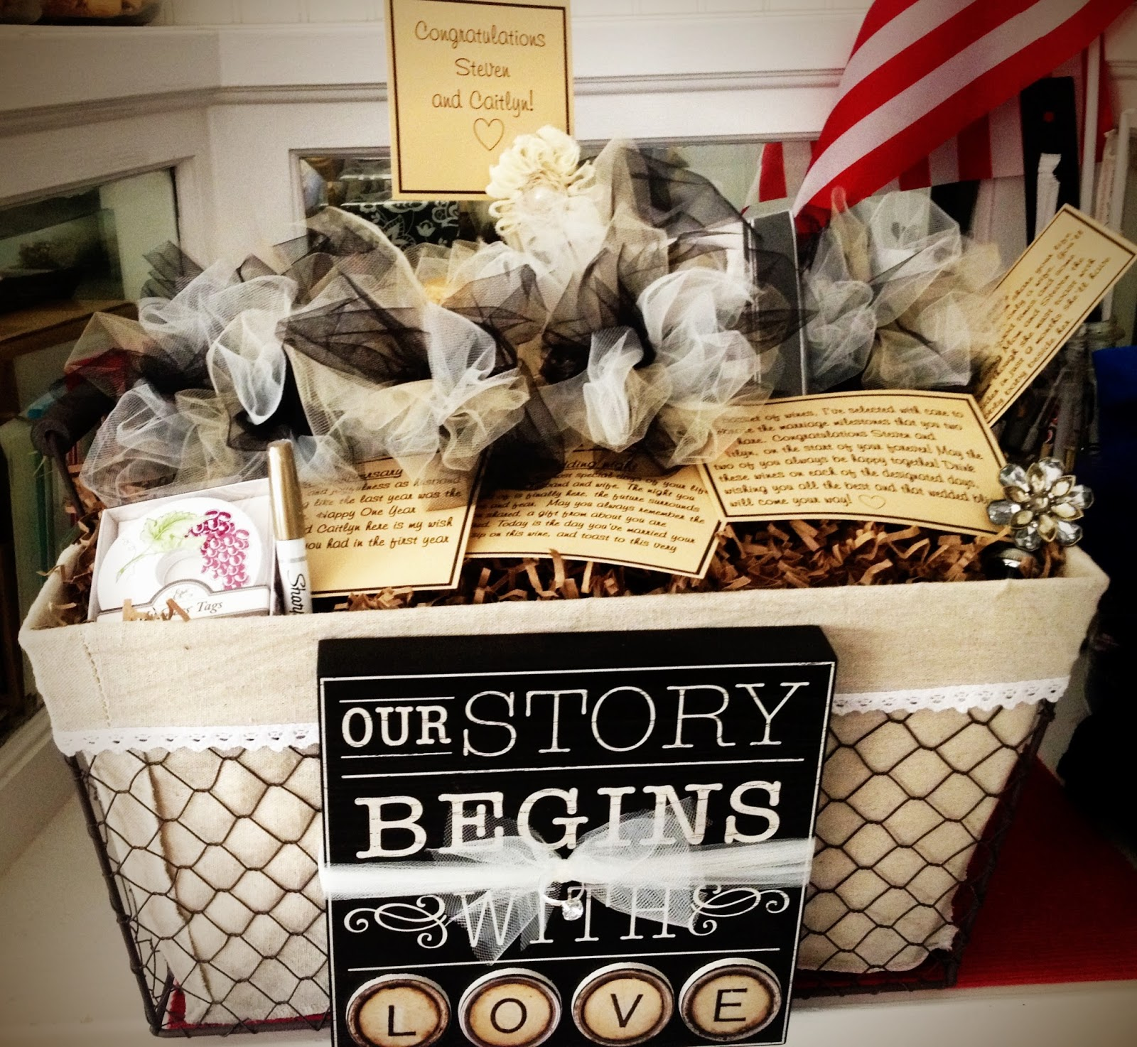 Cheap Bridal Shower Gift Basket Ideas : Bridgettes Pick of the Week A Wine Basket of Firsts