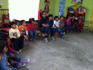 Kelsie loves the kids: Here I am bonding with children in Peru.