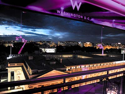 Sip cocktails with your girls  on the rooftop of the W Hotel. (Remember to say hi to Malia + Sasha for us!)