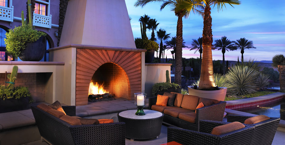 Relax around the fire at The Westin Lake Las Vegas Resort Terrace Fire Place