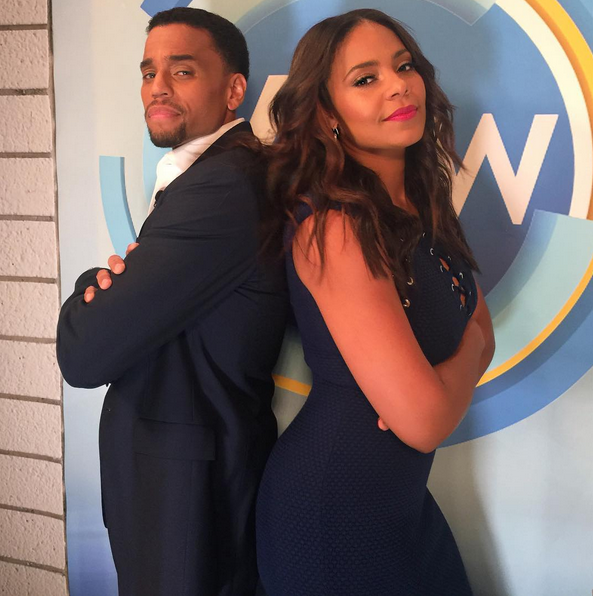 "Sanaa Lathan and Michael Ealy pose to promote their new film in theaters this week ""The Perfect Guy"""