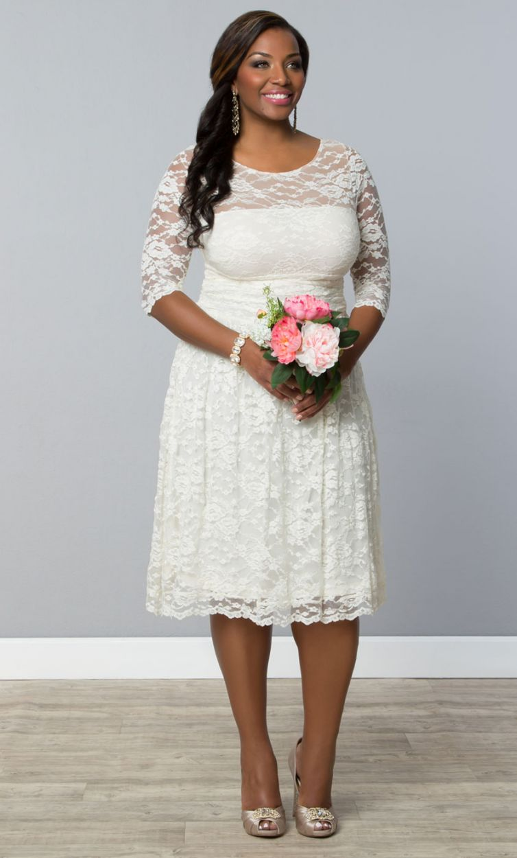 Who says plus-size brides don't have (affordable) options? This Kiyonna lace number is just $242!