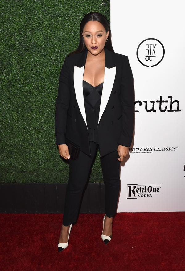 What do you think about Tia Mowry-Hardrict tuxeudo at the Truth LA Industry Screening?