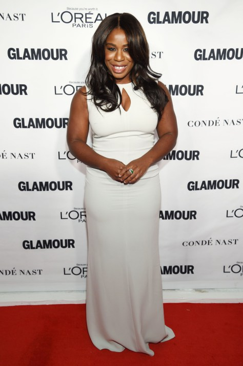 Uzo Aduba drapped in all-white at the Glamour Woman of the Year Awards