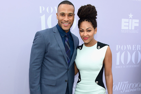 Talking down to or about my wife? DeVon Franklin, pictured with his better half Meagan Good, says not a chance!