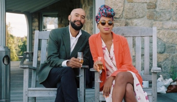 Boho Bliss: Alan + Solange sipp their bubbly in style.