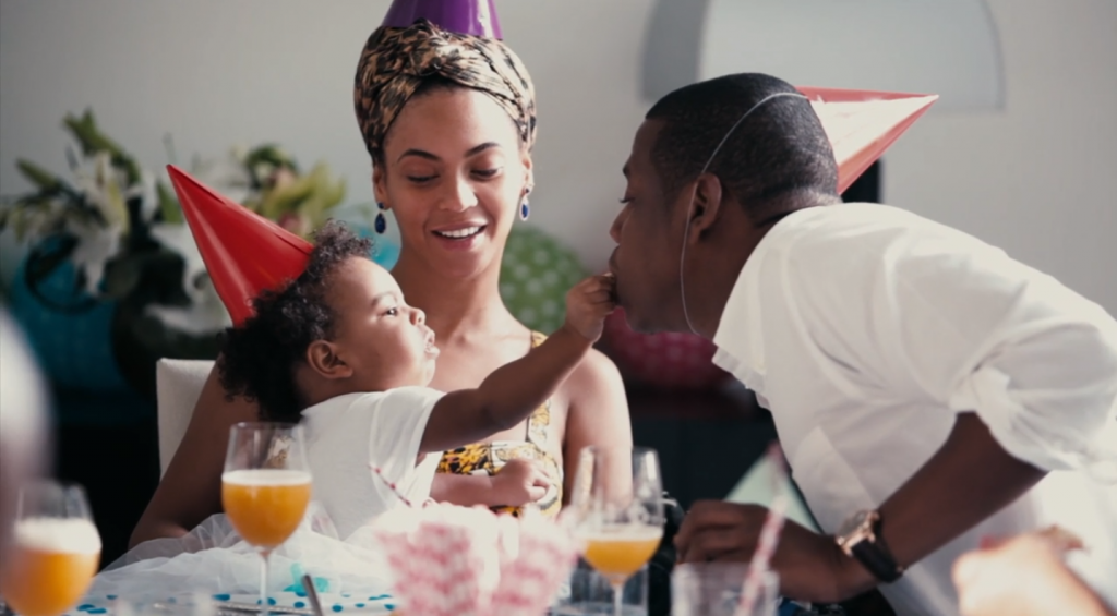 The Carters: Mama Beyonce, Papa Jay and Baby Blue Ivy celebrating her first birthday!