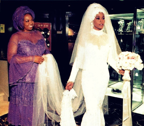 How beautiful was Whitney's gown when her and Bobby wed in 1992?