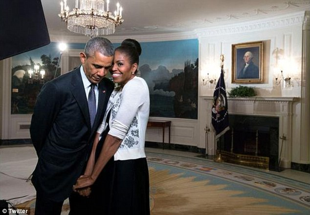 President Obama shared this aww-inspiring pic on his 23rd wedding anniversary via Twitter. The pair was captured in the Diplomatic Reception room of the White House.