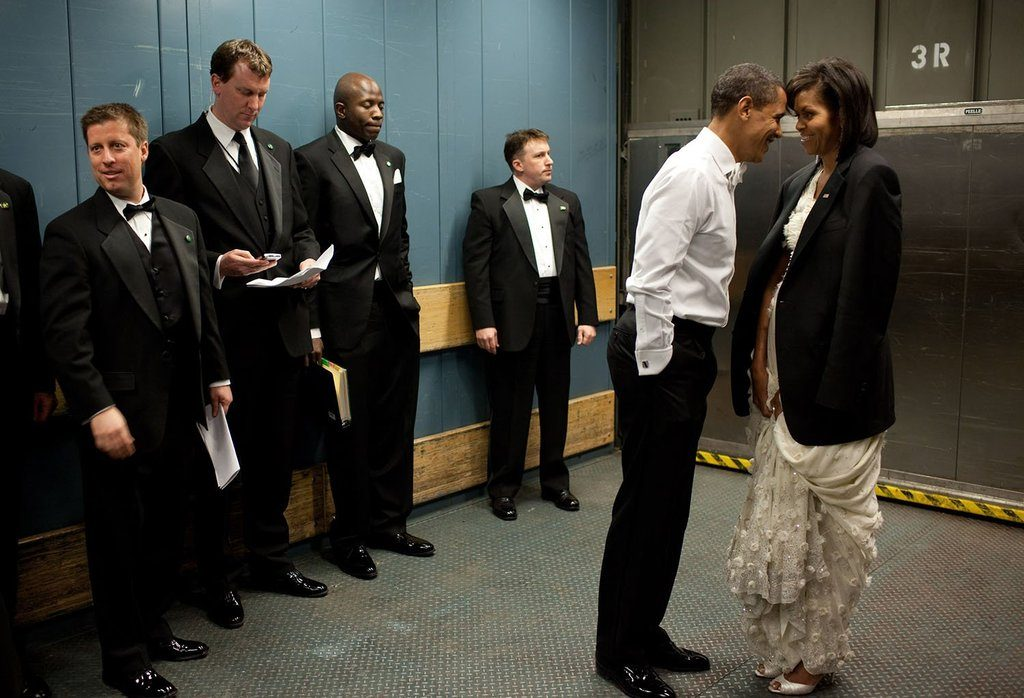 In the beginning: This now classic shot of the Obamas was taken following the President's historic inauguration in 2009.