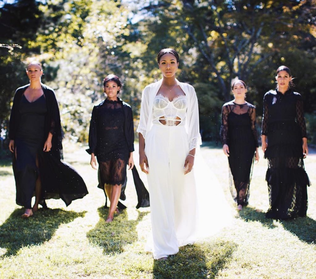 This bride and her squad are gorgeous in their black and white