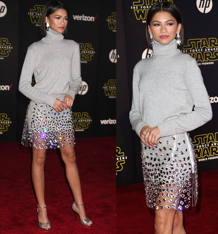 zendaya-michael-kors-gray-sweater-transparent-crystal-embellished-skirt